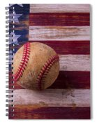 Old Baseball On American Flag Spiral Notebook