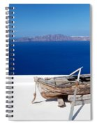 Old Boat On The Roof Of The Building On Santorini Greece Spiral Notebook