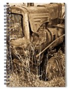 Old Farm Tractor In Sepia 1 Spiral Notebook