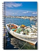 Old Fishing Wooden Boat With Nets Spiral Notebook