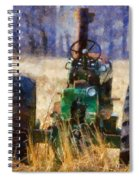 Old Green Tractor On The Farm Spiral Notebook