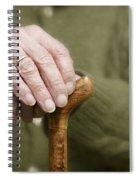 Old Hands Of A Senior On Walking Stick Spiral Notebook