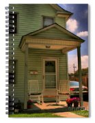 Old Houses - New Jersey - In The Oranges - Green House With Flower Pots And Rocking Chairs - Color Spiral Notebook