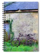 Old Irish Cottage With Bike By The Door Spiral Notebook