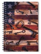 Old Keys On American Flag Spiral Notebook