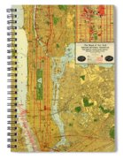 Old Map Of New York Central Railroad Manhattan Map 1918 Spiral Notebook