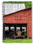 Old Massey Ferguson Red Tractor In Barn Spiral Notebook