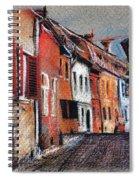 Old Medieval Street In Sighisoara Citadel Romania Spiral Notebook