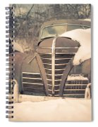 Old Plymouth Classic Car In The Snow Spiral Notebook