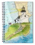 Old Pt Loma Lighthouse Ca Nautical Chart Map Art Cathy Peek Spiral Notebook