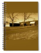Old Red Barn In Sepia Spiral Notebook