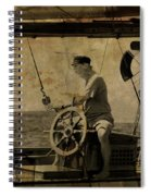 old sailor A vintage processed photo of a sailor sitted behind the rudder in Mediterranean sailing Spiral Notebook