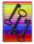 Old Skeleton Keys On Rows Of Colored Pencils Spiral Notebook