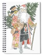 Old Time Santa With Teddy Spiral Notebook