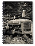 Old Tractor Black And White Square Spiral Notebook