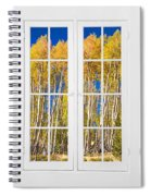 Old Triple16 Pane White Window Colorful Autumn Aspen Forest View Spiral Notebook