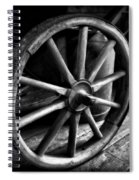 Old Wagon Wheel Black And White Spiral Notebook