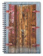 Old Wood Door With Six Red Hinges Spiral Notebook