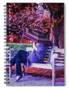 On A Bench Under An Umbrella In Autumn Spiral Notebook