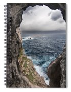 A Natural Window In Minorca North Coast Discover Us An Impressive View Of Sea And Sky - Open Window Spiral Notebook