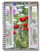 Open Window View Onto Wild Flower Garden Spiral Notebook