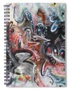 Orang Elblue Black Grey Abstract Landscape Art Spiral Notebook