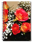 Orange Apricot Roses With Oil Painting Effect Spiral Notebook