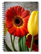 Orange Daisy With Tulips Spiral Notebook