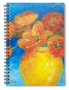 Orange Poppies In Yellow Vase Spiral Notebook