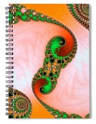 Orange Red And Green Abstract Fractal Art Spiral Notebook
