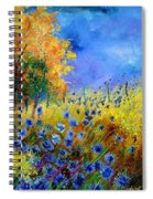 Orange Tree And Blue Cornflowers Spiral Notebook