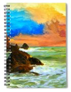 Oregon Coast At Sunset Spiral Notebook