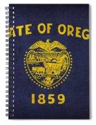 Oregon State Flag Art On Worn Canvas Spiral Notebook