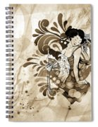 Oriental Beauty Sepia Tone Spiral Notebook