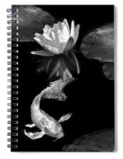 Oriental Koi Fish And Water Lily Flower Black And White Spiral Notebook