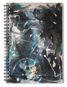 original abstract blue and black painting for sale-Blue Valley Spiral Notebook
