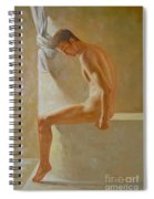 Original Classic Oil Painting Body Man Art- Male Nude In The Bathroom#16-2-3-01 Spiral Notebook