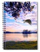 Osprey Leaving Perch Sundown Lake Spiral Notebook