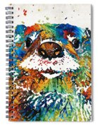Otter Art - Ottertude - By Sharon Cummings Spiral Notebook