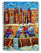 Outdoor Hockey Rink Winter Landscape Canadian Art Montreal Scenes Carole Spandau Spiral Notebook