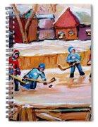 Outdoor Rink Hockey Game In The Village Hockey Art Canadian Landscape Scenes Carole Spandau Spiral Notebook
