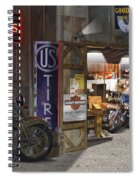 Outside The Motorcycle Shop Spiral Notebook