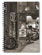 Outside The Old Motorcycle Shop - Spia Spiral Notebook