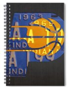 Pacers Basketball Team Logo Vintage Recycled Indiana License Plate Art Spiral Notebook