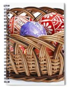 painted Easter Eggs in wicker basket Spiral Notebook