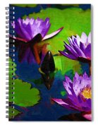 Painted Purple Water Lilies Spiral Notebook