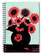 Painterly Red Sunflowers With Purple Spiral Notebook