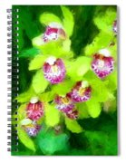 Painting Of Green Orchids Spiral Notebook