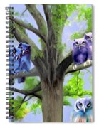 Painting Of Owls And Birds Nest In Tree Spiral Notebook