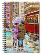 Paintings Of Fifties Montreal-downtown Streetcar-vintage Montreal Scene Spiral Notebook